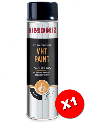 Simoniz Very High Temperature Matt Silver VHT Spray Paint 500ml SIMVHT22D