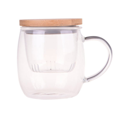 Bamboo Glass Mug & Infuser 350ml