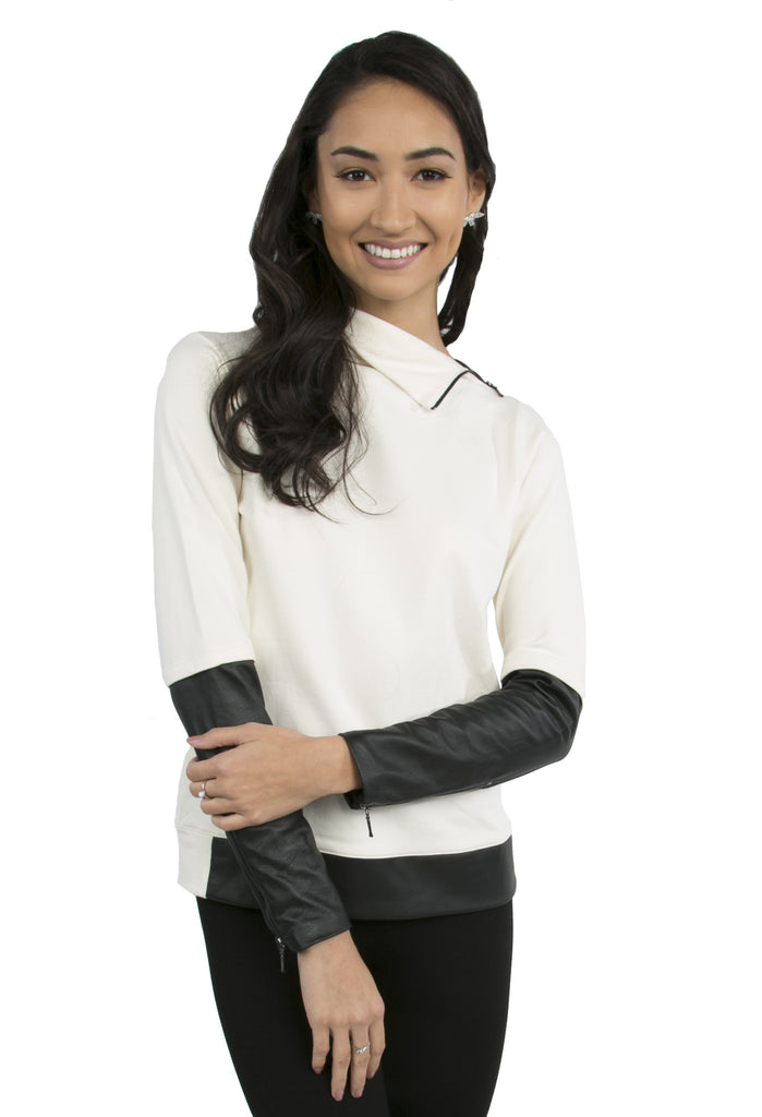 Leather Sleeve Turtleneck