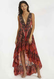 Marsala Feather Hi Low Dress
