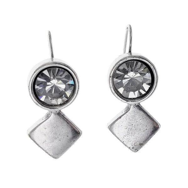 Metal Pointus Strass Round Crystal Drop Earrings