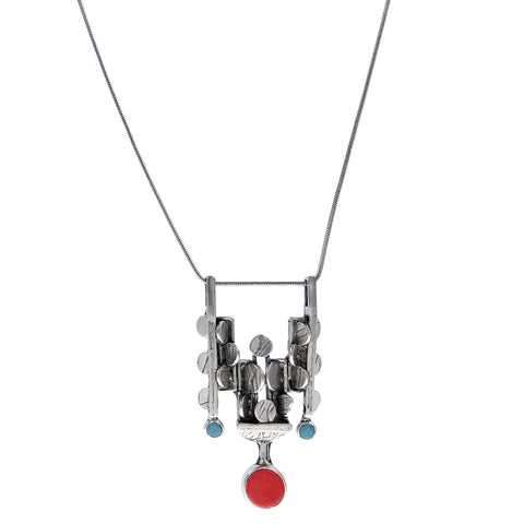 Osmose Alternating Circles Sticks Frame Drop Necklace