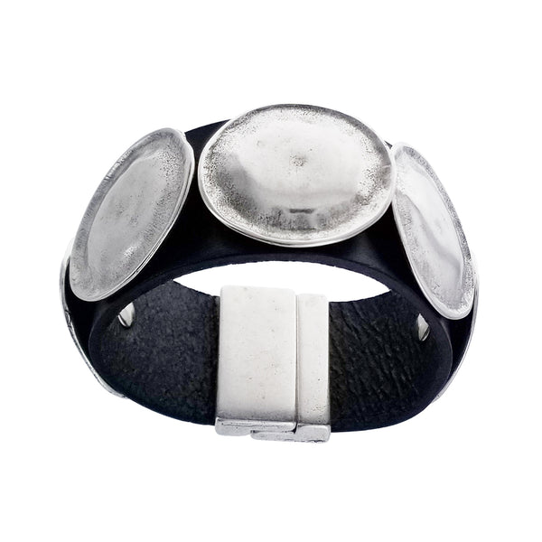 Spanish Five Textured Discs Leather Bracelet