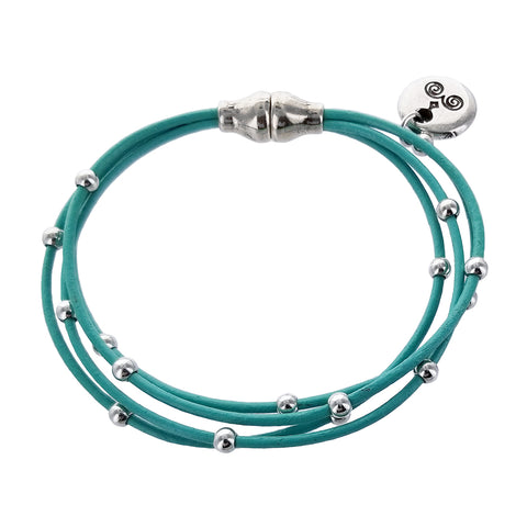 Spanish Turquoise Leather Multi Strand Orbit Bracelet