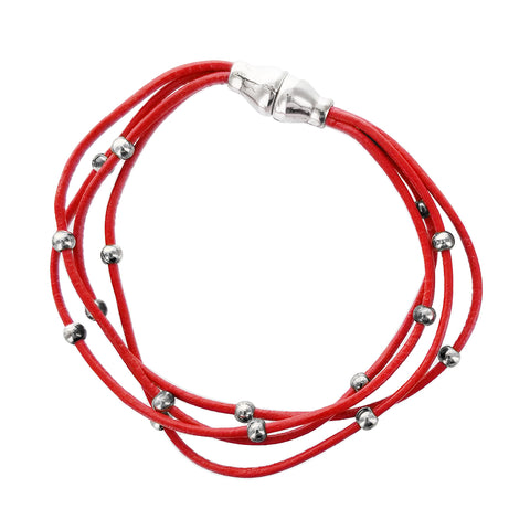 Spanish Red Leather Multi Strand Orbit Bracelet