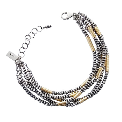 J & I Five Strand Silver And Gold Bead Bracelet
