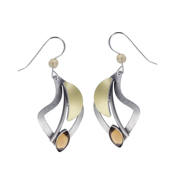Christophe Poly Mixed Metal Flowing Curves Earrings