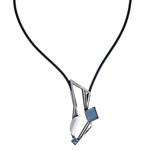 Christophe Poly Dynamic Mixed Metal Rectangle Leather Necklace