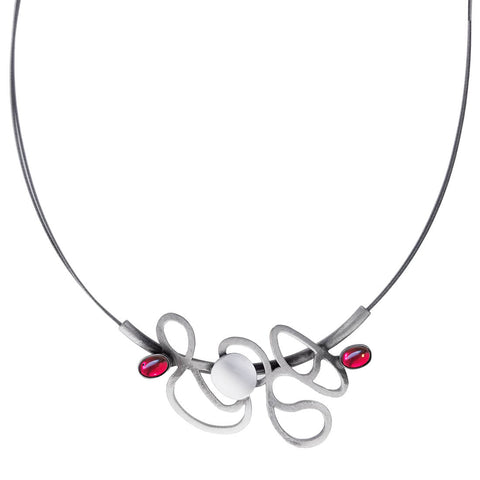 Christophe Poly Abstract Silver Dancing Lines Necklace