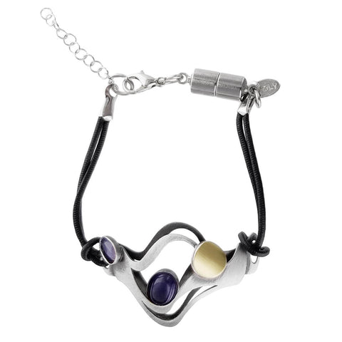 Christophe Poly Dancing Fire Purple Leather Bracelet