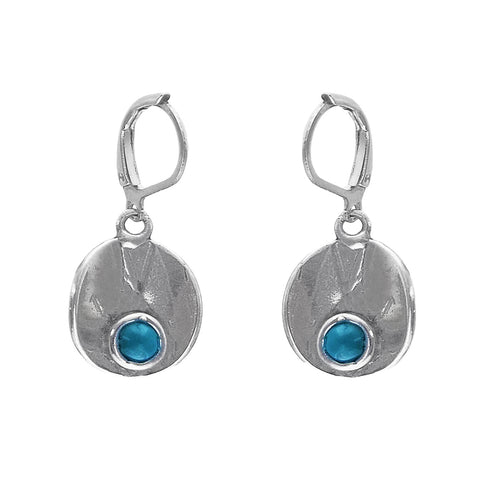 Osmose Silver Blue Glass Circle Earrings