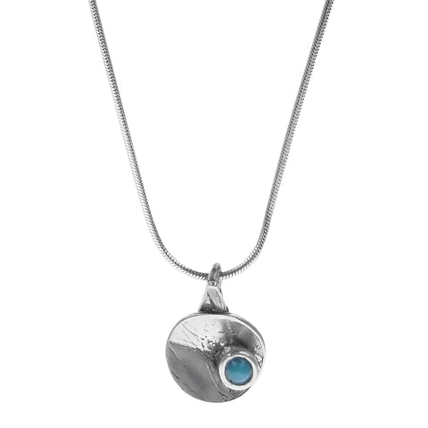 Osmose Silver Blue Glass Circle Necklace