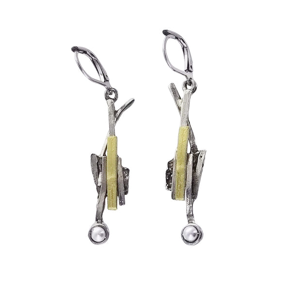 Osmose Silver Gold Pearl Twig Earrings