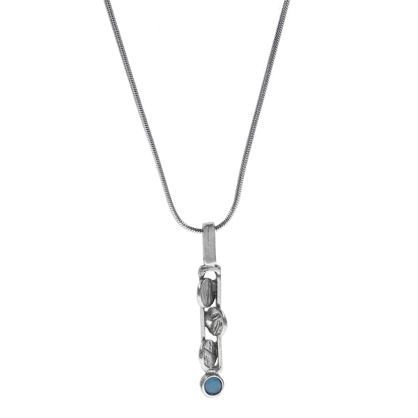 Osmose Silver Petals Blue Glass Necklace
