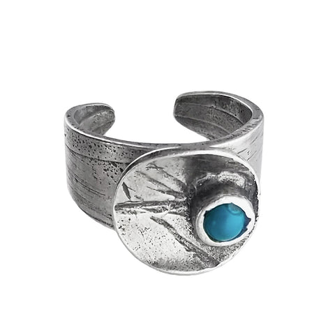 Osmose Etched Silver Turquoise Blue Glass Circle Ring