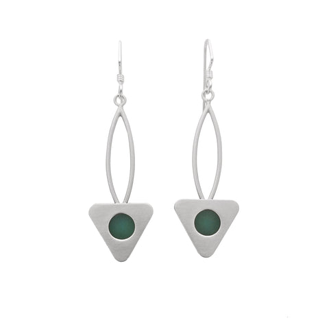 Mar Brushed Sterling Triangle Sea Glass Earrings