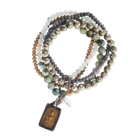 Lizou Mixed Gemstone Buddha Ohm Bracelet