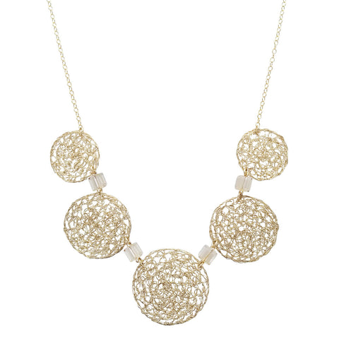 Israeli Smadar Sarid Golden Mesh Circles Necklace