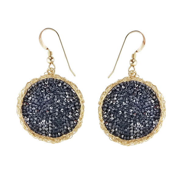 Israeli Smadar Sarid Golden Shimmering Black Crystals Earrings