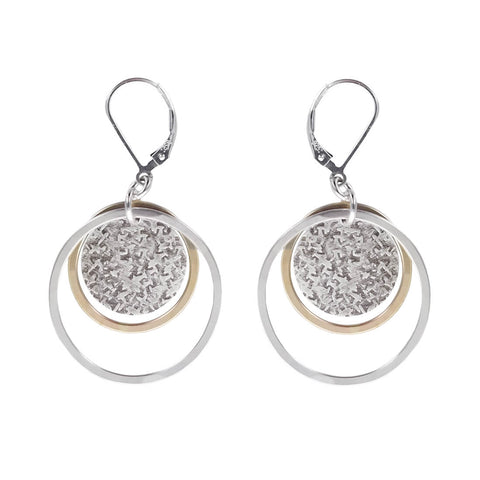 J & I Gold Silver Double Hoop Textured Disc Earrings