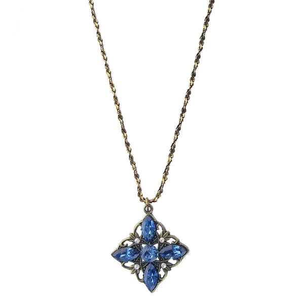 Classic Vintage Blue Crystal Necklace