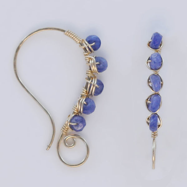 Tanzanite Gold Wire Earrings
