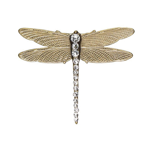 Abella Clear Crystals Brass Dragonfly Brooch