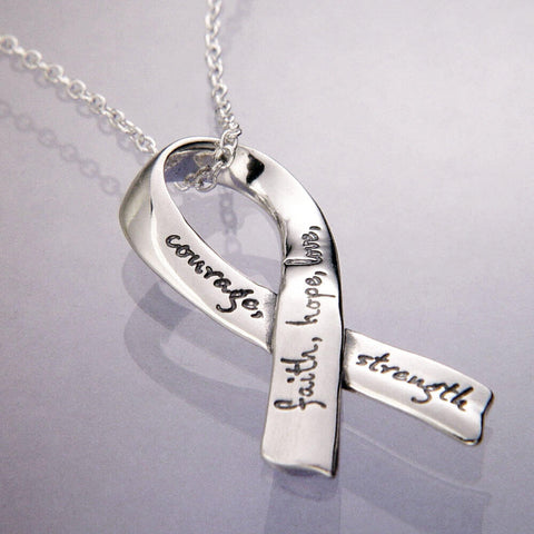 Faith Hope Love Courage Strength Ribbon Necklace