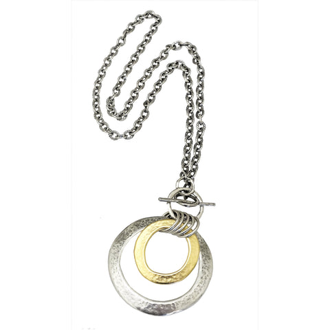 Israeli Smooth Gold and Silver Hoop Necklace