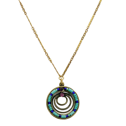 Ann Egan Amethyst Turquoise Circles Necklace
