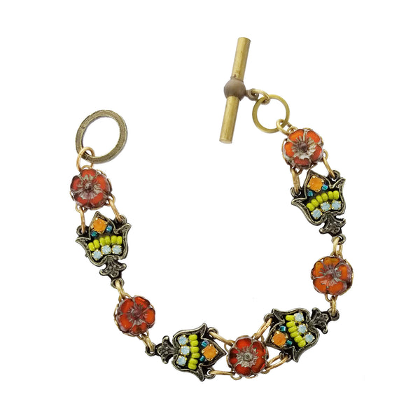 Ann Egan Orange Topaz Five Flower Bracelet