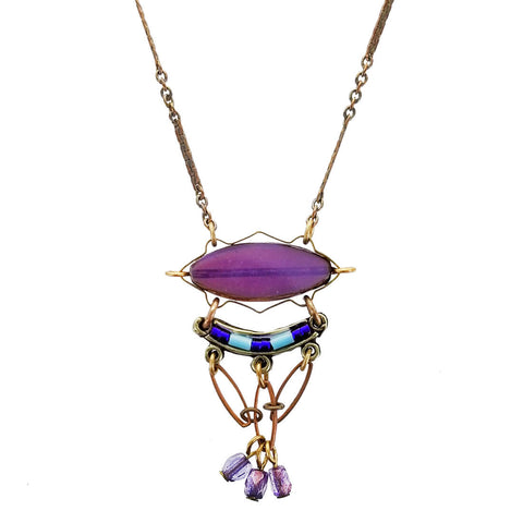 Ann Egan Purple Triple Dangle Necklace