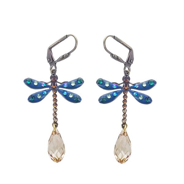 Anne Koplik Blue Dragonfly Faceted Drop Earrings
