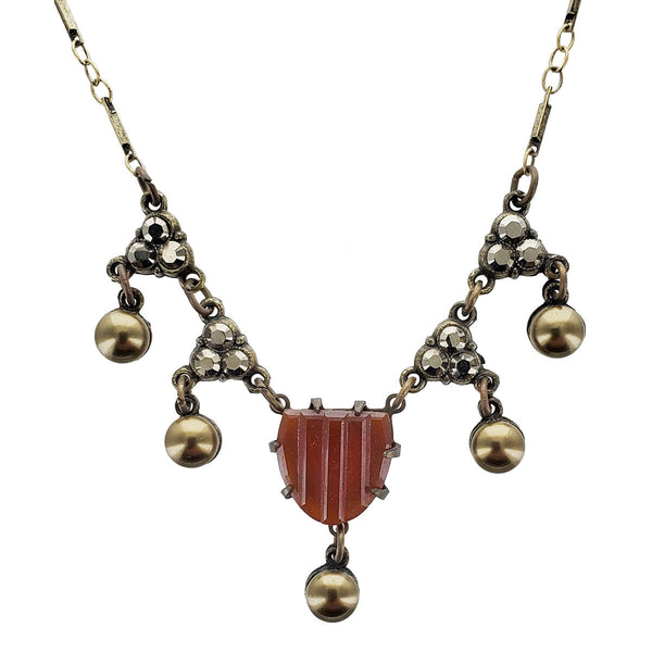 Anne Koplik Rich Carnelian Banded Pendant Necklace