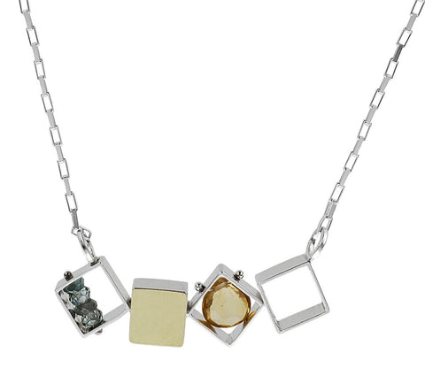 Ashka Dymel Mixed Metal Citrine Horizontal Cubes Necklace Closer View