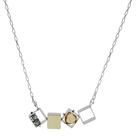 Ashka Dymel Mixed Metal Citrine Horizontal Cubes Necklace