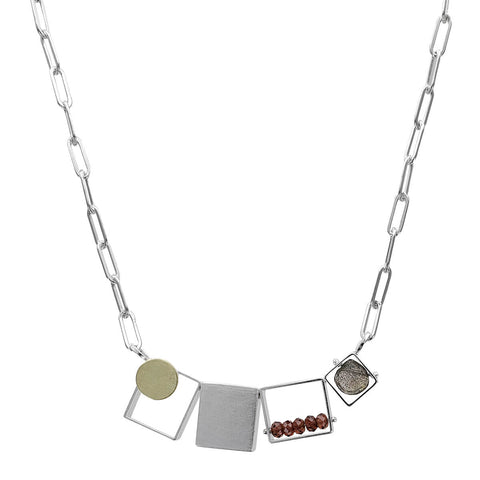 Ashka Dymel Mixed Metal Garnet Labradorite Horizontal Cubes Necklace