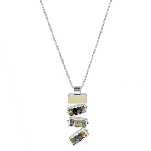 Ashka Dymel Mixed Metal Gemstone Waterfall Pendant Necklace