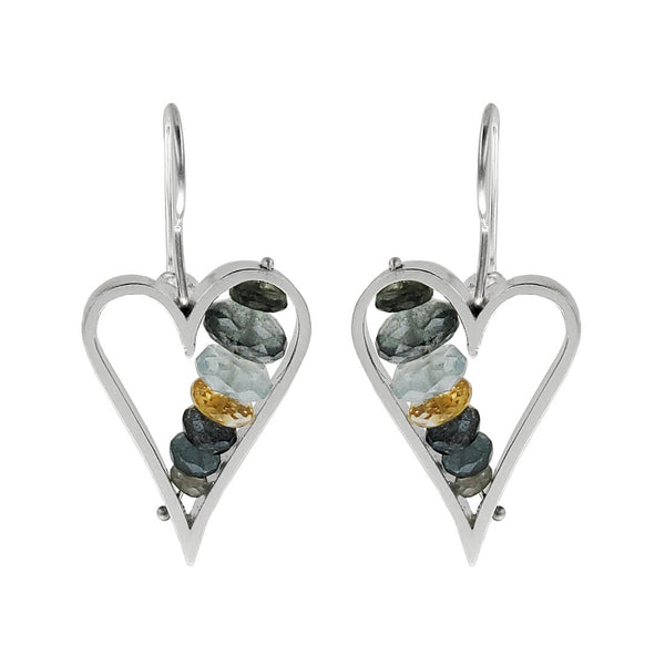 Ashka Dymel Moss Aquamarine Heart Earrings
