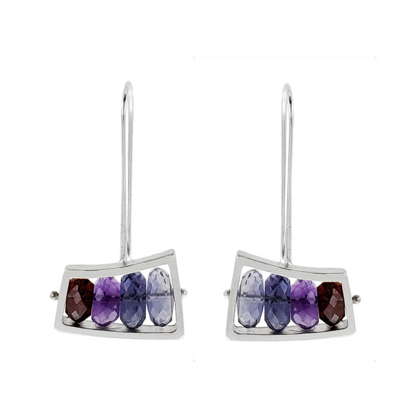 Ashka Dymel Sliding Wedge Gemstone Earrings