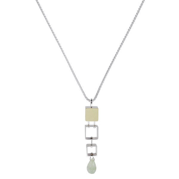 Ashka Dymel Tumbling Mini Square Briolette Drop Necklace