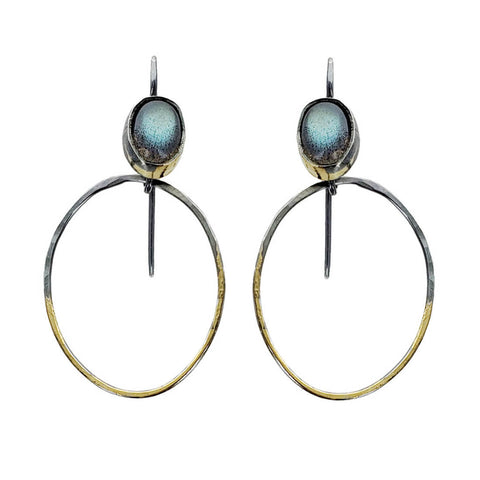 Austin Titus Labradorite Gold Silver Oval Hoop Earrings