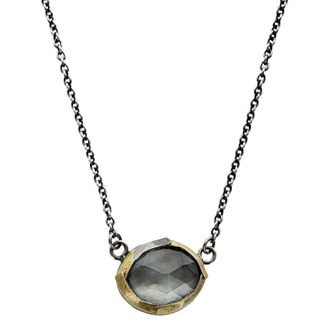 Austin Titus Moss Aquamarine Gold Silver Wrapped Necklace