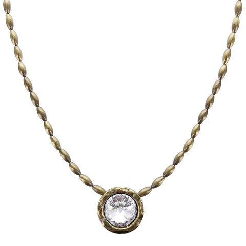 Avant Garde Paris Clear Crystal Golden Cherie Pendant Necklace