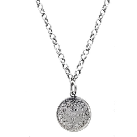 Avant Garde Paris Long French Coin Necklace Other Side