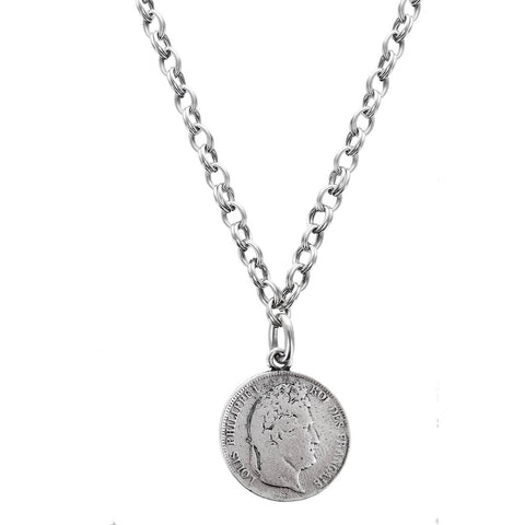 Avant Garde Paris Long French Coin Necklace