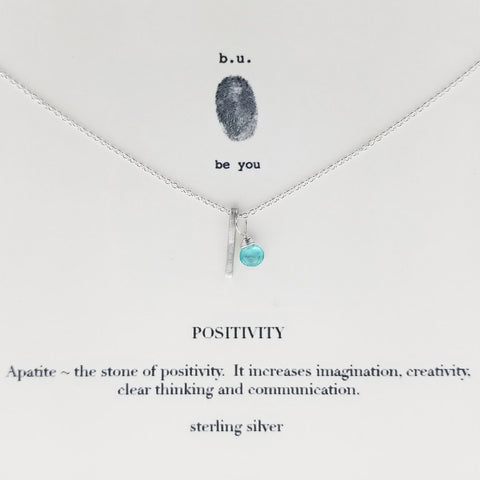 b.u. Apatite Positivity Necklace on Quote Card
