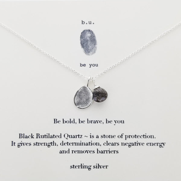 b.u. Be Bold Brave You Necklace Quote Card