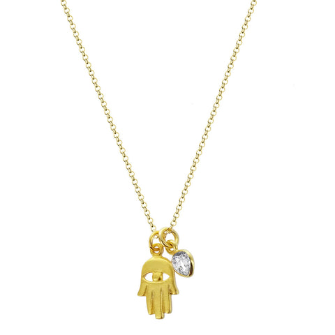 b.u. Blessings Hamsa Crystal Necklace