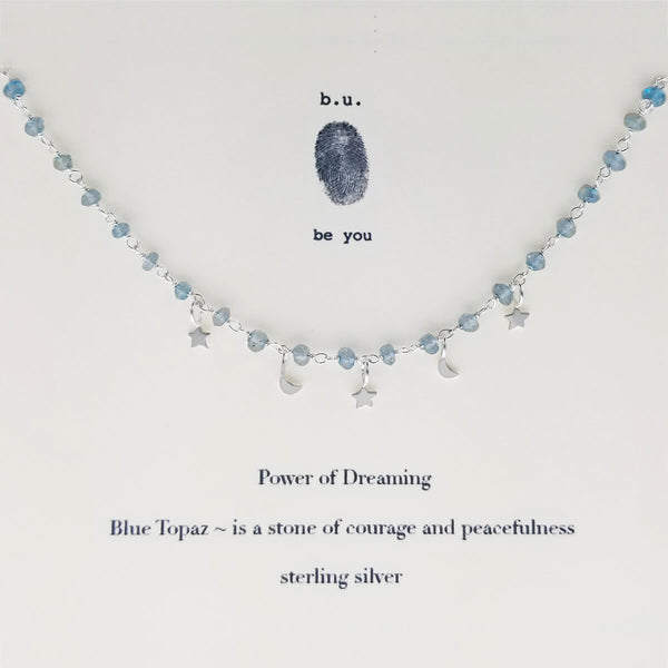 b.u. Blue Topaz Moon Stars Power Of Dreaming Necklace